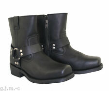 Xelement 1502 Black Motorcycle Harness Full Grain HD Leather Lug Sole Boot
