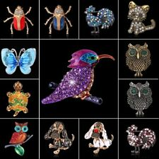 Retro Silver/Gold Crystal Rhinestone Animal Cat Bird Butterfly Brooch Pin Gift