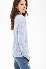 NWT New Forever 21 Contemporary Floral Paisley Long Sleeve Top Mint Purple S/M