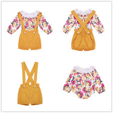 Baby Infant Girl Outfits Floral Romper Jumpsuit+Suspender Shorts Set Clothes