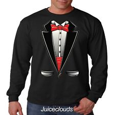 Tuxedo Long Sleeve Shirt Red Tuxedo Tshirt Tux Suit Bowtie Wedding Prom Mens Tee