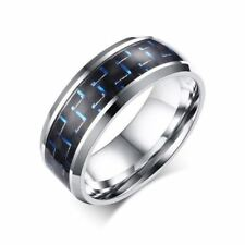 Men's Ring Blue Red Color Carbon Fiber Stainless Steel Wedding Ring band Jewelry