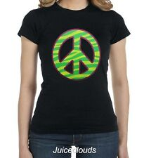 Peace Sign Fitted Shirt Neon Zebra Print Peace and Love Emoji JUNIORS Tee
