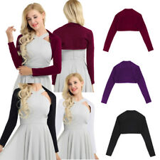 Womens Blouse Soft Shrug Wedding Bolero Long Sleeve Coat Cardigan Crop Top S-2XL