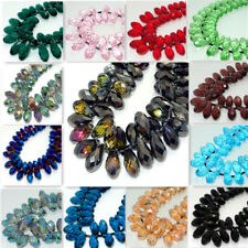 Wholesale 10pcs Faceted Teardrop CRYSTAL GLASS Loose Spacer Beads DIY 10x20mm