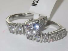 TK2869 STAINLESS STEEL SOLITAIRE SIMULATED DIAMOND RING ENGAGEMENT WEDDING SET