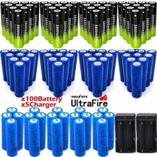 100Pcs 18650 3.7V Rechargeable Li-ion Battery & Charger For Torch Flashlight _