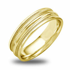 14K-18K White Or Yellow Gold Double Ridged Inlay Mens Wedding Band
