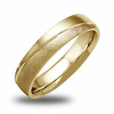 14K-18K White Or Yellow Gold Satin Textured Mens Wedding Band