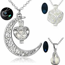 Steampunk Womens Jewellery Glow In The Dark Moon Heart Pendant Necklace Gift New