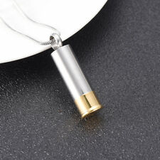 Shotgun Shell Bullet 2 Tone Cremation Urn Stainless Steel Pendant Necklace