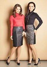 SKIRT CAREER PENCIL STRETCH LINED KNEE LENGTH BLACK MADE IN EUROPE S M L XL XXL