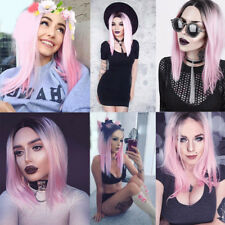 Women's Short Straight Full Wig Synthetic Bobo Pink Hair Cosplay Party Sexy Wigs
