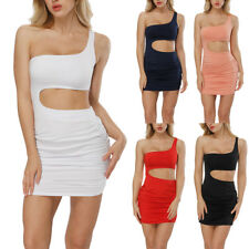 Women's One Shoulder Bandeau Bodycon Evening Club Party Ruched Short Mini Dress
