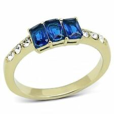 3037 SIMULATED BLUE SAPPHIRE EMERALD STAINLESS STEEL GOLD 3STONE RING WOMENS