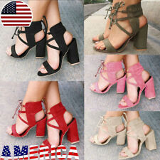 US Womens Lace Up Open Peep Toe High Block Heel Sandals Ankle Party Summer Shoes