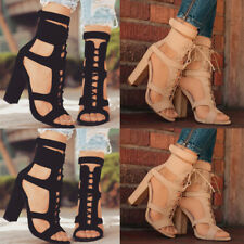 Women's Lace Up Ankle Sandals Block Mid High Heel Open Toes Summer Strappy Shoes