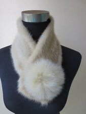 Women's Real Mink Fur Scarf Neck Collar Wrap  Closure Ball Style