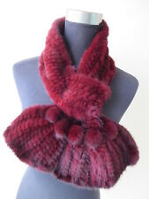 Pure Color 100% Mink Fur With Fur Ball Women Scarf Muffler