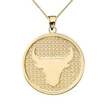 Solid 10k Yellow Gold Taurus Zodiac Disc Pendant Necklace