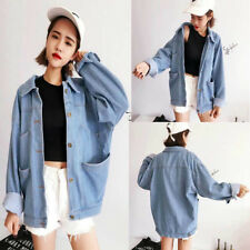 New Womens Oversize Retro Boyfriend Style Jacket Denim Loose Casual Jean Coat