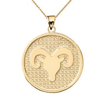 Solid 14k Yellow Gold Aries Zodiac Disc Pendant Necklace