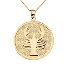 Solid 10k Yellow Gold Cancer Zodiac Disc Pendant Necklace