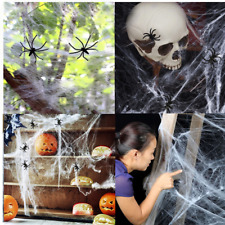 Stretchy Spider Web Cobweb With 2 Spiders for Halloween Party Decoration New