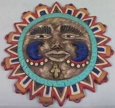 Mexican Handcrafted Ceramic Sun Face Wall Décor Hanging Pottery Folk Art