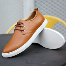 Mens Leather Shoes Driving Boat Soft Moccasin Lace Up Loafers Casual Waterproof