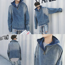 Free Style New Boy Men's Casual Loose Hooded Denim Jeans Cowboy Coat Jacket
