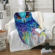 Pixie Cold Plush Blanket Bed Throw Colorful Animal Bedspread Watercolor 130