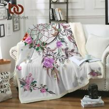 Dreamcatcher Collection Sherpa Blanket Floral Chic Plush Throw bedspread
