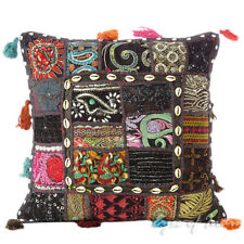 """16"""" Black Colorful Decorative Throw Pillow Cover Sofa Cushion Couch Boho Indian"""