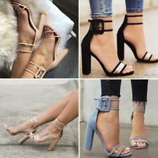 Ladies Peep Toe Sandals Women High Block Heels Ankle Strappy Party Pumps Shoes
