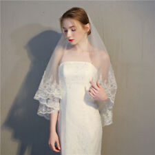 2 Layer Wedding Veil with Comb Sequin Lace Brim Tulle Voile Bridal Veil Chic New