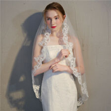 1 Layer Wedding Veil with Comb Lace Brim Tulle Bridal Veil Elegant Accessory New