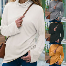 Fashion Womens Pullover Turtleneck Long Sleeve Autumn Slim Solid Blouse Tops