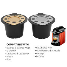 Reusable Coffee Tea Capsules Pods Filter Plastic + Stainless Steel For Nespresso