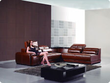 Modern leather sectional sofa set with corner tables