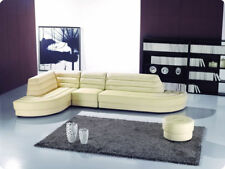4pcs Modern leather sectional sofa set with ottomans