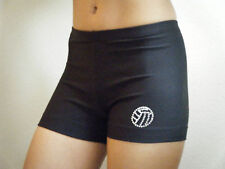 NEW Black VOLLEYBALL SHORTS/crystals ALL SIZES