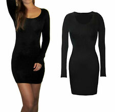 New Long Sexy Bodycon L/S Tunic Top / Dress Black 8-18