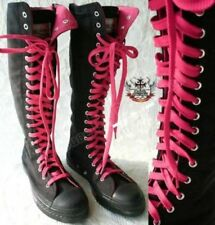 Punk emo Knee Hi Sneaker Canvas boot Noir+Hot Pink