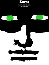 Wall Decor Poster.Fine Graphic Art Design. Painting of ZORRO's face. Room Art.