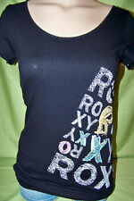 ROXY Shirt S/S tee BLACK MULTI LOGO - NWT