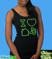 Girly Tank Green GLOW In Dark I LOVE HOUSE Music tee