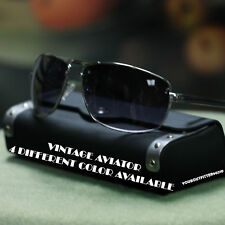 NEW MENS VTG AVIATOR SUNGLASSES BLACK GUN METAL SQUARE