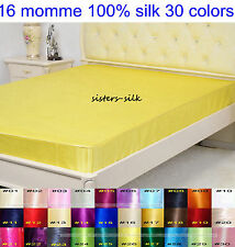 """1 PC 16MM 100% PURE SILK SATIN 14"""" POCKET DEEP FITTED SHEET ALL SIZE 30 COLORS"""