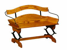 Amish Buckboard Bench Solid Wood Rustic Country Porch Entryway